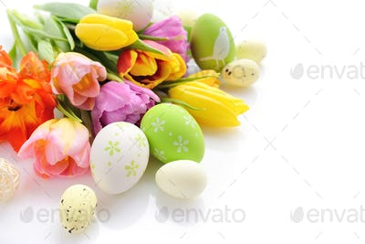 Easter eggs with tulips flowers on white background