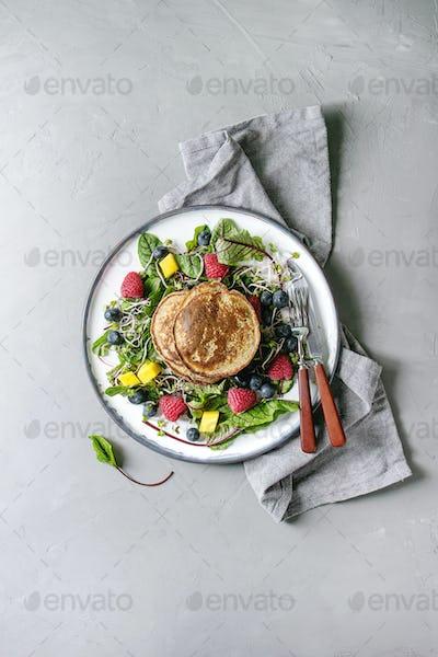 Vegan pancakes with greens