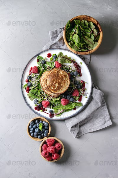 Vegan pancakes with greens