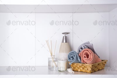 Spa and wellness setting with towels. Dayspa nature products