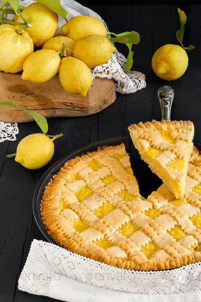 Lemon Pie And Fresh Lemons
