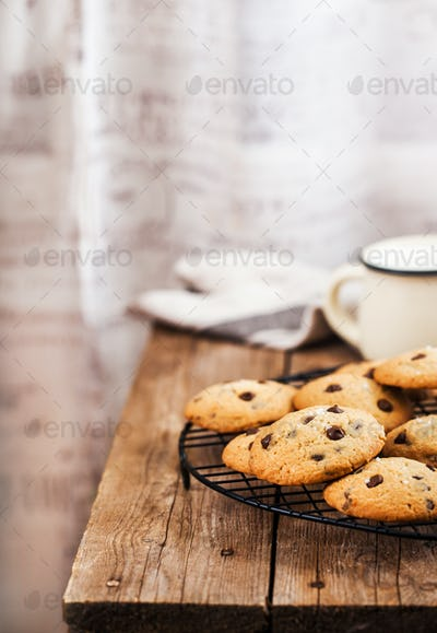 Homemade freshly baked chocolate chips cookies