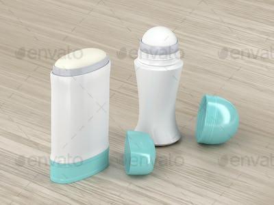 Antiperspirant deodorants on wood background