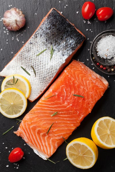 Raw salmon fish fillet
