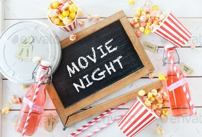 Movie night with popcorn