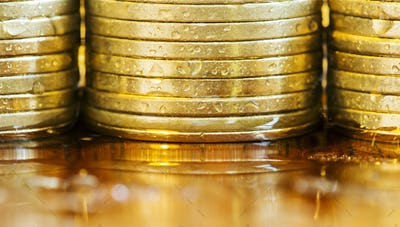 Business success - golden coins close-up