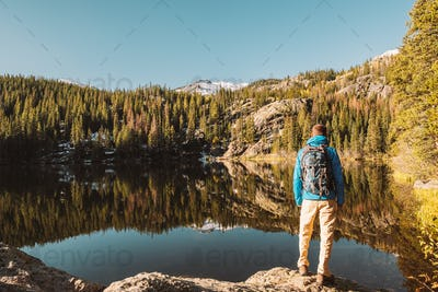 Tourist near Bear Lake in Colorado
