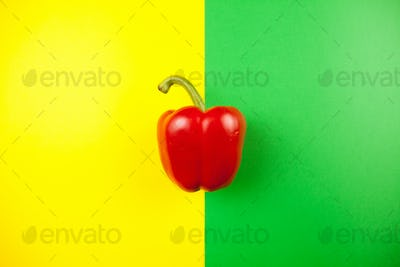 Top view on sweet red pepper