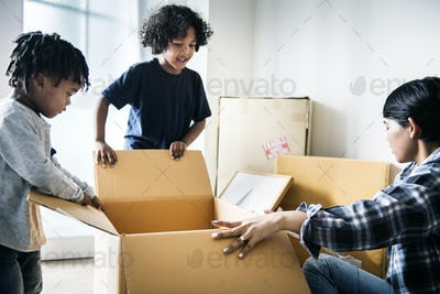 Black family moving to new house