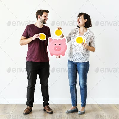 People with saving money concept