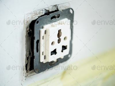 Closeup of AC power plug socket