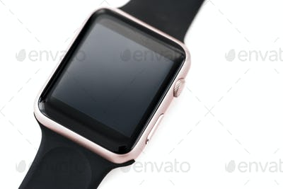 Closeup of mockup smartwatch isolated on whtie background