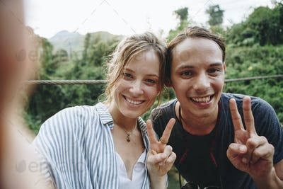 Couple having their photo taken in nature