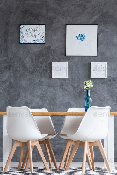Dining room with concrete wall