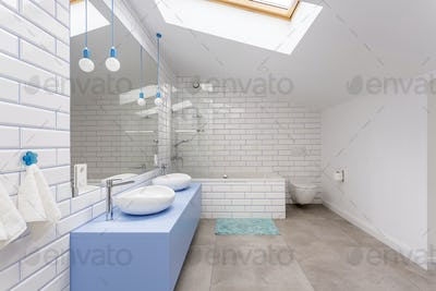 Simple bathroom in attic