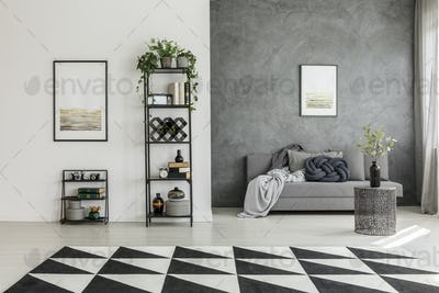 Geometric carpet and gray sofa