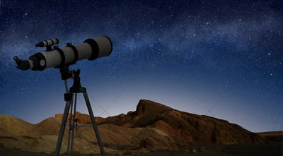 telescope on a tripod pointing at starry night sky