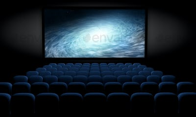 science fiction film in empty movie theater, 3d illustration