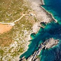 Aerial  view of Porto Vromi beach in Zakynthos (Zante) island, i