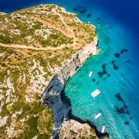 Aerial  view of  Agios Nikolaos blue caves  in Zakynthos (Zante)
