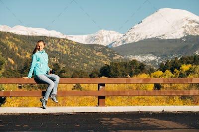 Tourist in Rocky Mountains at autumn, Colorado, USA.