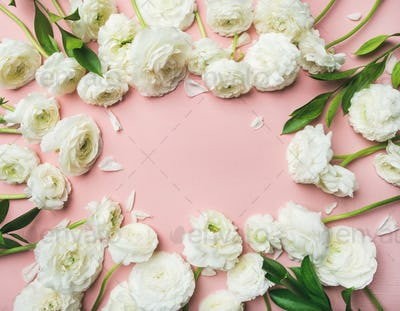 Saint Valentines Day frame or background with ranunculus, copy space