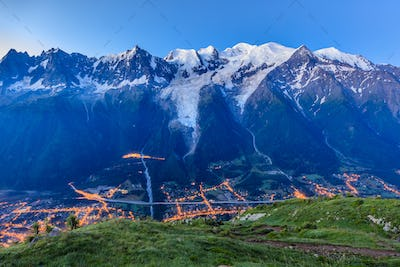 Chamonix valley in the morning. France