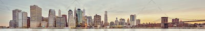 Panoramic picture of the Manhattan skyline at sunset, New York.
