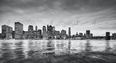Panoramic picture of the Manhattan skyline at dusk, NYC.