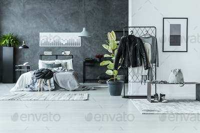 Clothes in spacious grey bedroom