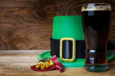 Saint Patrick day green leprechaun hat and big beer glass