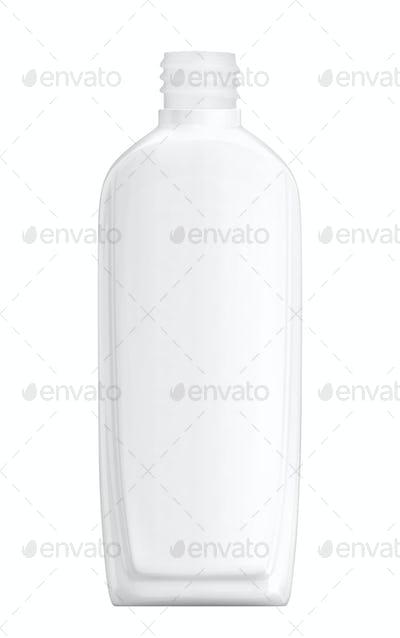 White plastic Shampoo Bottle isolated on white