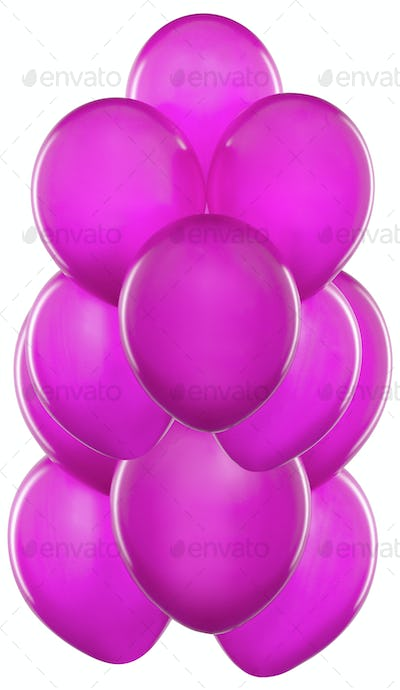 Purple Balloons isolated on white