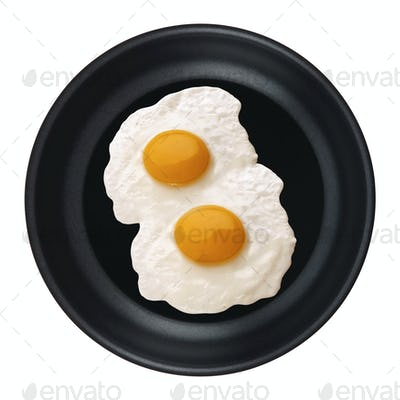 Eggs in a pan isolated