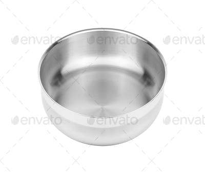Camping stainless steel bowl isolated on white background