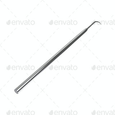 A steel dentists hook probe isolated