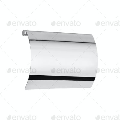 a chrome toilet roll holder isolated on white