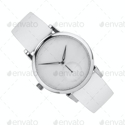 Silver wrist watch isolated on white