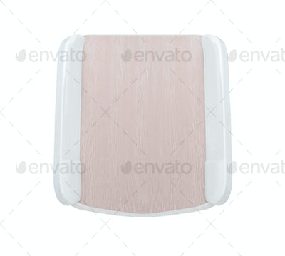 a wooden tray isolated on white