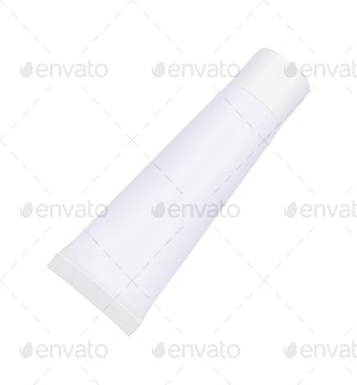 Tube Of Cream or Gel white plastic product isolated on white