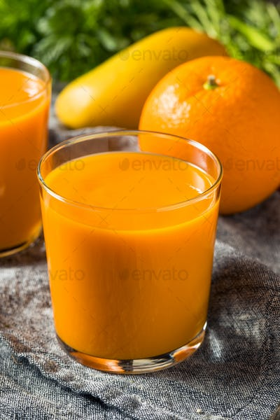 Healthy Organic Orange Carrot Smoothie Juice Drink