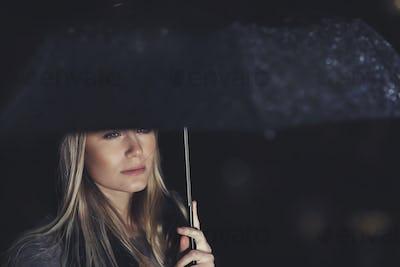 Beautiful sad woman under the rain