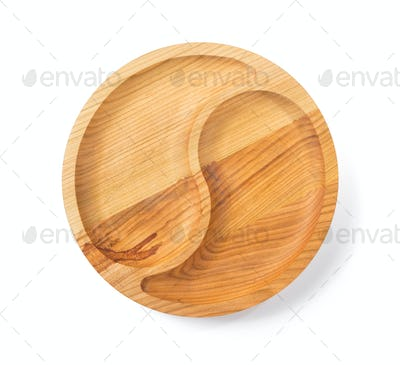 wooden plate isolated on white