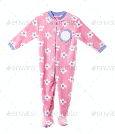 Pink fleece pajamas with floral pattern.