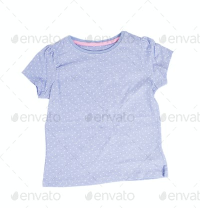 Blue dotted cotton t-shirt.