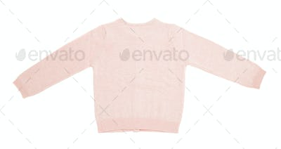 Pink knitted cashmere cardigan.