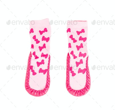 Pink soft shoes for babies.