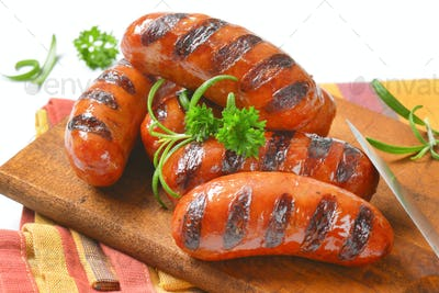 grilled short sausages