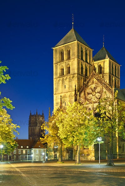 Muenster Cathedral At Night, Germany