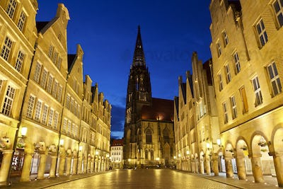 Old City Street And Church At Night, Germany